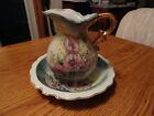 ANTIQUE Lefton China hand painted water pitcher with BOWL 5523