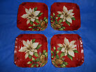 222 FIFTH 4 Red Square Bread Appetizer Plates Poinsettia Holly Christmas Flower