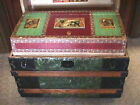 UNUSUAL Original COLORFUL c.1890 ANGLE TOP Antique TRUNK Original HAT BOX TRAY