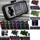 Rugged Holster Case Hybrid Shockproof Stand Swivel Clip Dual Layer Cover +Film
