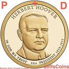 2014 P&D Herbert Hoover Presidential Golden Dollar $BU via MINT Roll 2 Coin Set