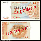 Bosnia - *SPECIMEN* - P 64 - 10 Konvertibilnih Marka 1998 - PERFORATED  STAMPED