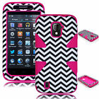 For ZTE Majesty Z796C Source N9511 Hybrid Pink Chevron Dynamic Case / Cover