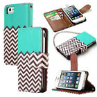Hybrid Wallet PU Leather W/Stand Case Cover Pouch+Chain For Apple iPhone 5G 5S
