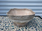 Antique Brown Ironstone Decorated With Birds Staffordshire Footed Serving Bowl