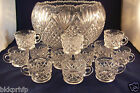 VTG L.E. SMITH PINEAPPLE PATTERN CLEAR CRYSTAL GLASS 1960'S PUNCH BOWL W/12 CUPS