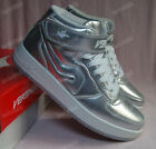 Fashion Silver for Men Shoe Men's Leather High Top Lace Up Sneakers Shoes