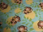 1 YARD ADORABLE CHILDREN'S COTTON FLANNEL FABRIC WITH BABY MONKEYS