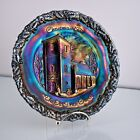 Fenton Christmas in America No 2, 1971 Amethyst Carnival Plate, Old Brick Church