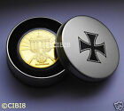 1 oz GOLD PLATED NAZI IRON CROSS NOT SWASTIKA COIN WW1/WW2 | *RARE* | WITH BOX