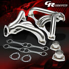 FOR CHEVY SMALL BLOCK 262-400 V8 ANGLE PLUG HEAD EXHAUST MANIFOLD HUGGER HEADER