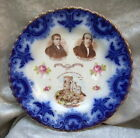 ANTIQUE PRIMITIVE METHODIST CENTENARY FLOW BLUE CHINA PLATE - GRINDLEY/DUCHESS