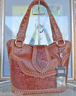 New 'Montana West' Western Shoulder Bag w/ tooled Leather Accents- Brown