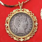 US 1908 Barber Silver Hlaf Dollar Coin Gold Plated Necklace 24