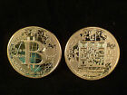 RARE 1 Troy Oz .999 Pure solid Silver 24k GOLD plated 0.25 BTC Bitcoin
