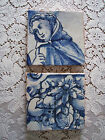 Lot Vintage Hand Painted Blue & White Tiles ~ Portugal ~ Cloaked Woman & Fruit