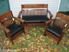 Arts&Crafts  SET OF 3 settee, chair and rocker    stickley era  w2644   BOW BACK