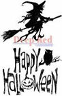 Deep Red Rubber Cling Stamp Halloween Witch on a Broom Spooky Scene