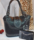 New 'Montana West' Concealed Carry Western Bag & Wallet w/ Tooled Leather-Black