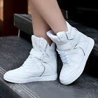 Womens Velcro High Top Hidden Wedge Sneaker Girl Shoe Boot White US 7=EU38=CN39