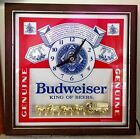 MAN CAVE Budweiser Deluxe Label Clock advertising, Clydesdale, beer, sign, WORKS