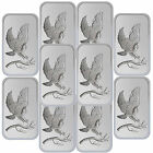 Trademark Bald Eagle 1oz .999 Fine Silver Bars by SilverTowne LOT OF 10 #6844