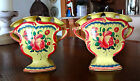 PAIR of 19 c FRENCH FAIENCE YELLOW TULIPIERE VASE BOUQUETTIERE - possibly SCEAUX