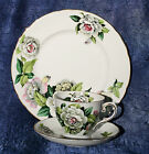Vintage Tuscan China Trio Gardenia Flower CUP SAUCER PLATE White/Pink