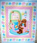 SWEET BEGINNINGS baby fabric panel HENRY GLASS PINK quilt top baby fabric NEW