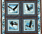 QUEST OF THE HUNTER FABRIC panel 4 PILLOW PANELS BALD EAGLE FABRIC wild wings