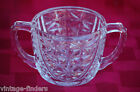 Old Vintage Anchor Hocking Stars & Bars Clear Glass Open Sugar Bowl Depression