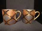 Herman Dodge & Sons, Inc, Hues and Brews Tea Cups - Set of Two Black Gold Brown