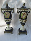 Pair, Old European? Blue & White Decorative Urns with Scene, Gold-Tone Hardware