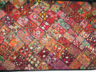 Red Bohemian Tapestry Kutch Embroidery Wall Hanging Throw