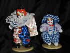 SET OF  TINY PORCELAIN & CLOTH CLOWNS - VERY CUTE!!!!