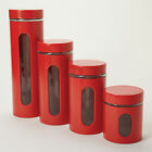 Kitchen Red Stacking Jars Canisters Pasta Coffee Storage Organize Window Counter