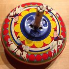 Vtg 50s SPINNING TIN TOP TOY cowboy Horse Litho Western Art Metal Retro USA