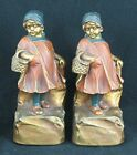 Pair Armor Bronze Basket Case Girl Bookends Clad Similar to Farmerette Bookends