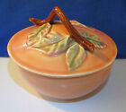Vintage Belmar of California Pottery Covered Dish - Branch & Leaf Design - Mint