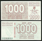 *SCARCE* - BOSNIA - P 26 - 1000 Dinara 1992 MONETARY COUPON - Siege of SARAJEVO