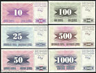 Bosnia - FULL SET - 6 UNC notes - 10 - 1000 Dinara 1992-93 - P 10 11 12 13 14 15