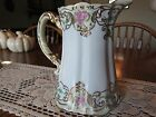 Antique Victorian Pitcher White/ Pink Roses & Blue Flowers & Gilt with Gold