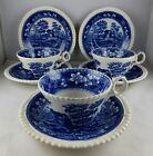 Three Spode China Tower - Blue Older (Gadroon) Cup and Saucer Sets - Excellent