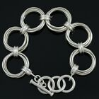 Retired Silpada Sterling Silver Multi Circle Link Toggle Bracelet B1235 With Box