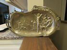VINTAGE RARE SOLID BRASS W/HUNTING SCENE (HUNTERS,DEER&DOGS) PLATE/TRAY  16