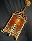 VTG GOTHIC CHANDELIER PENDANT MICA SHADE CEILING LIGHT FIXTURE  1920's OLD LAMP