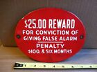 Antique vintage Gamewell Fire Alarm porcelain metal sign ORIGINAL reward fireman
