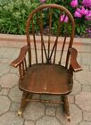 Antique Depression Era Dark Oak Child's Rocking Chair Rocker