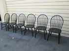 54263   Set 6 Black ETHAN ALLEN  Windsor Dining Chairs Chair s
