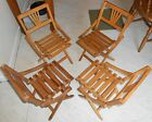 SET 4 CHILDRENS WOOD WOODEN FOLDING CHAIRS MADE IN CZECHOSLOVAKIA